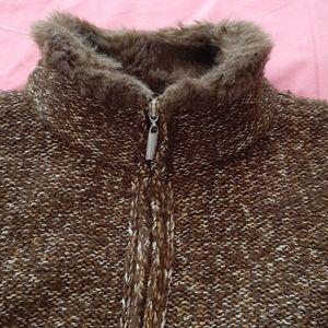 CHARTER CLUB PETITE vest brown/gold zipper down PM